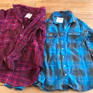 2 plaid button down shirts, like new, both large
